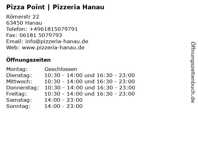 Pizza Point | Pizzeria Hanau in Hanau: Adresse und Öffnungszeiten