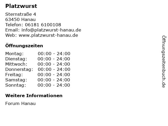 Platzwurst in Hanau: Adresse und Öffnungszeiten