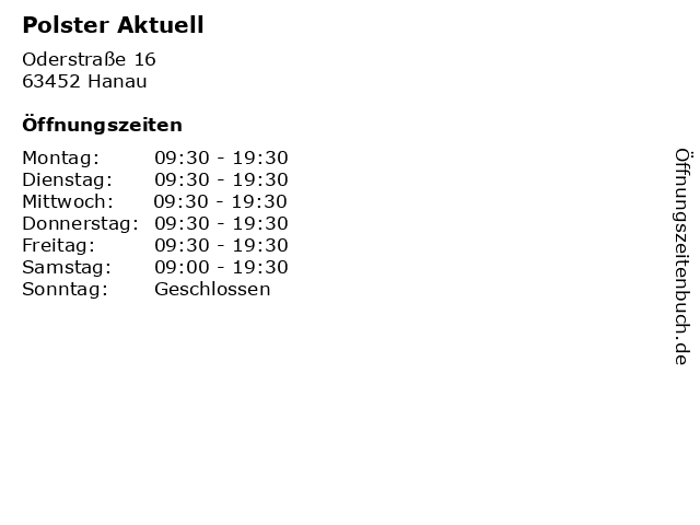 ᐅ öffnungszeiten Polster Aktuell Oderstraße 16 In Hanau
