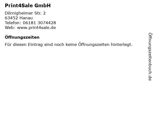 Print4Sale GmbH in Hanau: Adresse und Öffnungszeiten