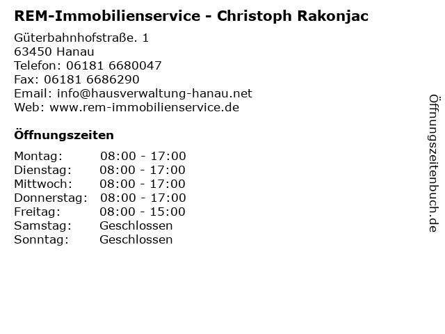 REM-Immobilienservice - Christoph Rakonjac in Hanau: Adresse und Öffnungszeiten