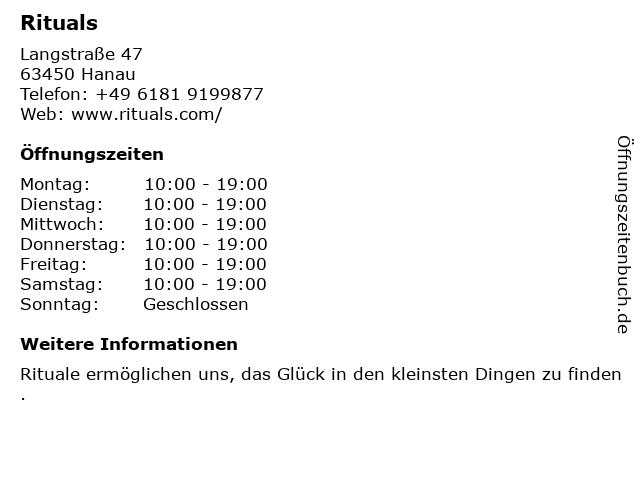 Rituals Cosmetics Germany GmbH in Hanau: Adresse und Öffnungszeiten