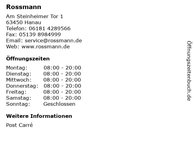 Rossmann in Hanau: Adresse und Öffnungszeiten