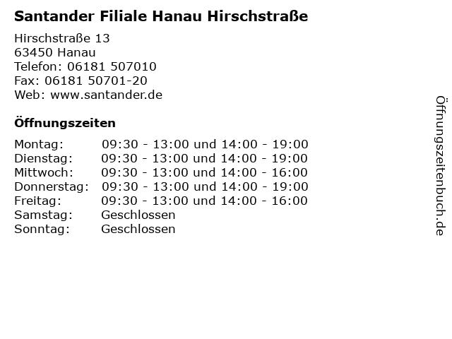 Santander Filiale Hanau Hirschstraße in Hanau: Adresse und Öffnungszeiten