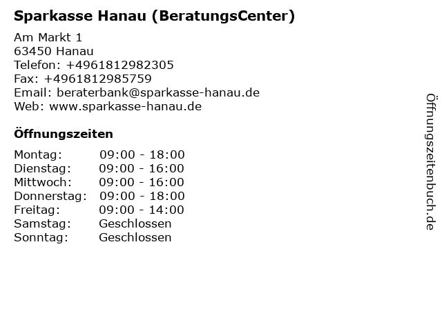 Sparkasse Hanau - BeratungsCenter Am Markt 1 in Hanau: Adresse und Öffnungszeiten