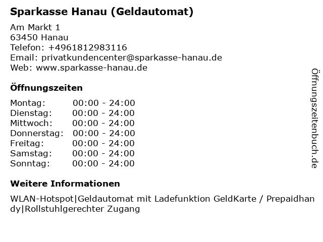 Sparkasse Hanau - (Geldautomat Hauptstelle) in Hanau: Adresse und Öffnungszeiten