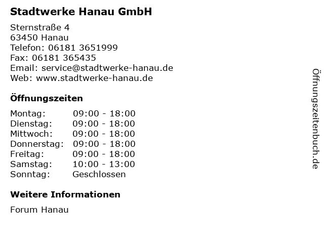 Stadtwerke Hanau GmbH in Hanau: Adresse und Öffnungszeiten