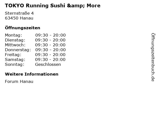 TOKYO Running Sushi & More in Hanau: Adresse und Öffnungszeiten