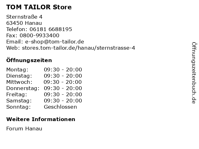 TOM TAILOR Store in Hanau: Adresse und Öffnungszeiten