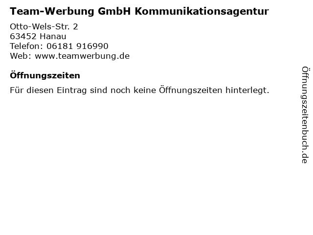 Team-Werbung GmbH Kommunikationsagentur in Hanau: Adresse und Öffnungszeiten