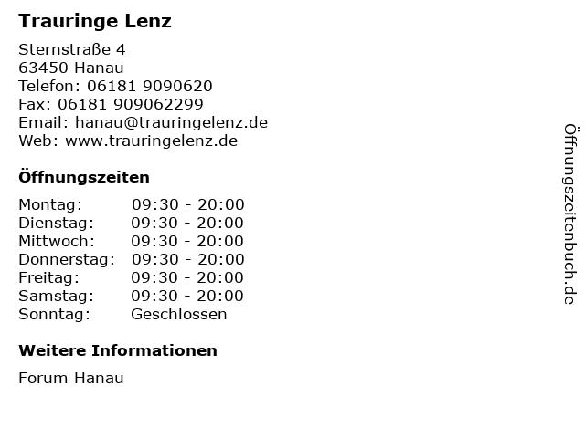 Trauringe Lenz in Hanau: Adresse und Öffnungszeiten