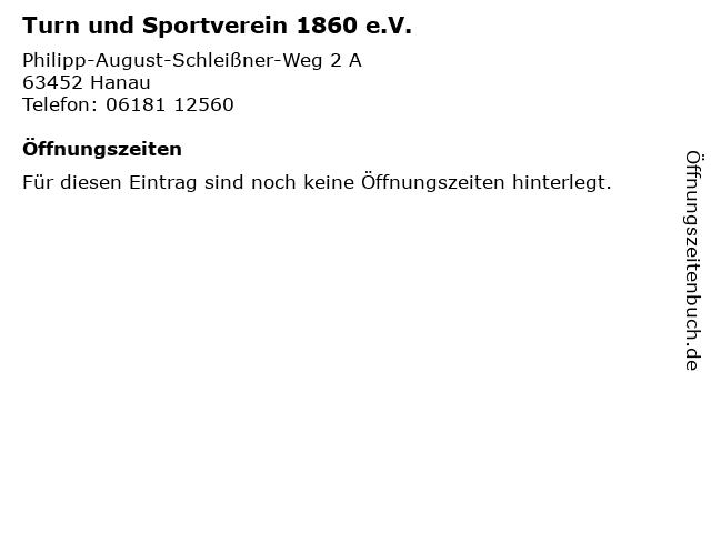 Turn und Sportverein 1860 e.V. in Hanau: Adresse und Öffnungszeiten