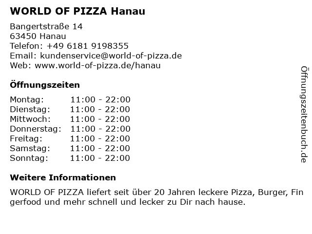 WORLD OF PIZZA Hanau in Hanau: Adresse und Öffnungszeiten