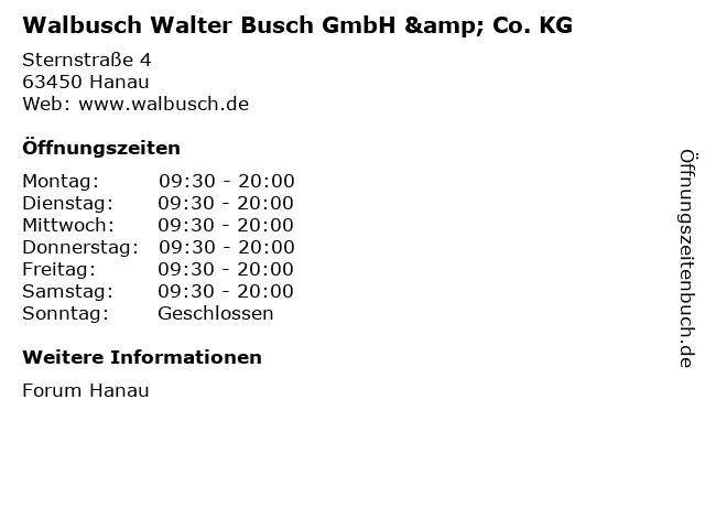 Walbusch Walter Busch GmbH & Co. KG in Hanau: Adresse und Öffnungszeiten