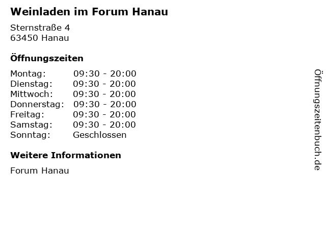 Weinladen im Forum Hanau in Hanau: Adresse und Öffnungszeiten