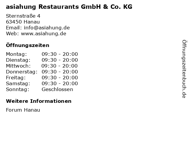 asiahung Restaurants GmbH & Co. KG in Hanau: Adresse und Öffnungszeiten