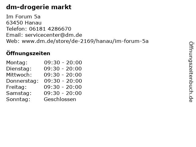 dm-drogerie markt GmbH + Co. KG in Hanau: Adresse und Öffnungszeiten