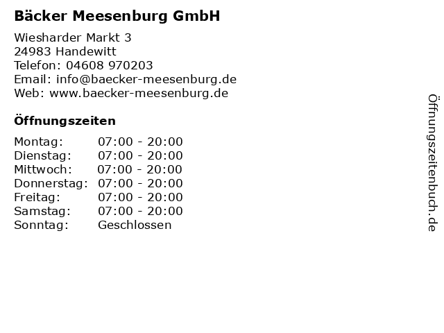Bäcker Meesenburg GmbH in Handewitt: Adresse und Öffnungszeiten