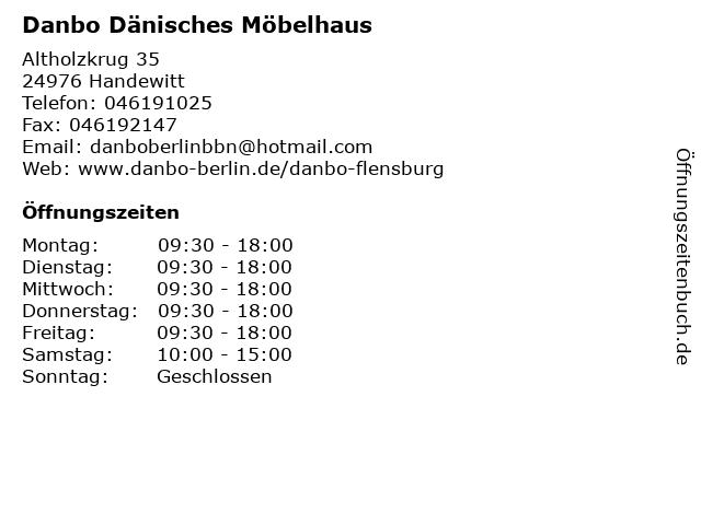 Danbo Dänisches Möbelhaus in Handewitt: Adresse und Öffnungszeiten