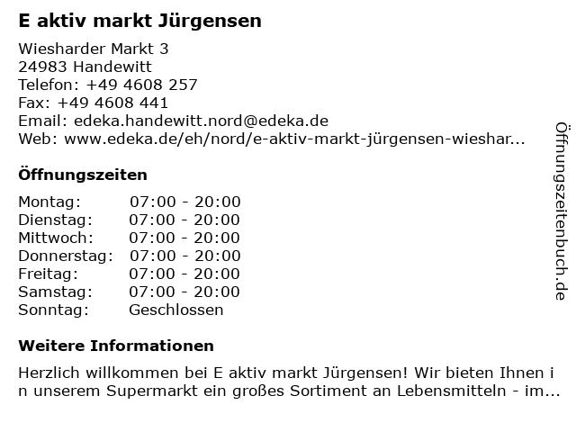 E aktiv markt Jürgensen in Handewitt: Adresse und Öffnungszeiten