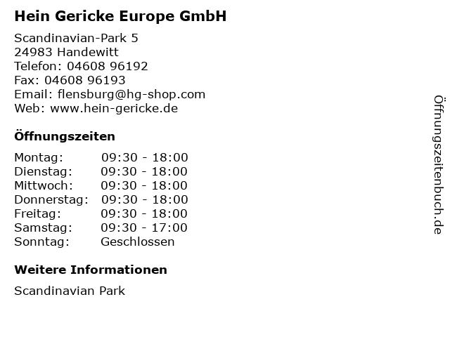 Hein Gericke Europe GmbH in Handewitt: Adresse und Öffnungszeiten