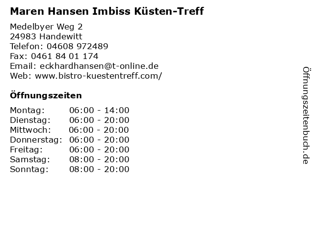 Maren Hansen Imbiss Küsten-Treff in Handewitt: Adresse und Öffnungszeiten