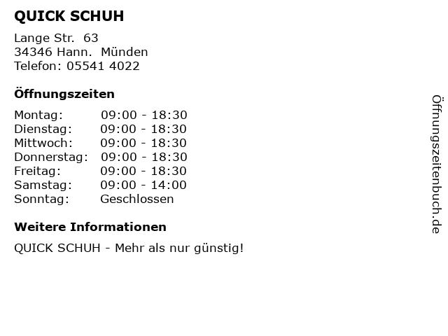 QUICK SCHUH in Hann.  Münden: Adresse und Öffnungszeiten