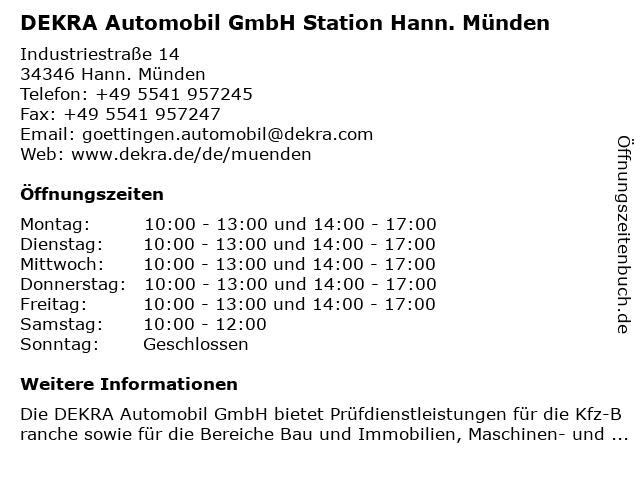 DEKRA Automobil GmbH Station Hann. Münden in Hann. Münden: Adresse und Öffnungszeiten