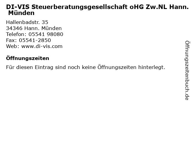 DI-VIS Steuerberatungsgesellschaft oHG Zw.NL Hann. Münden in Hann. Münden: Adresse und Öffnungszeiten