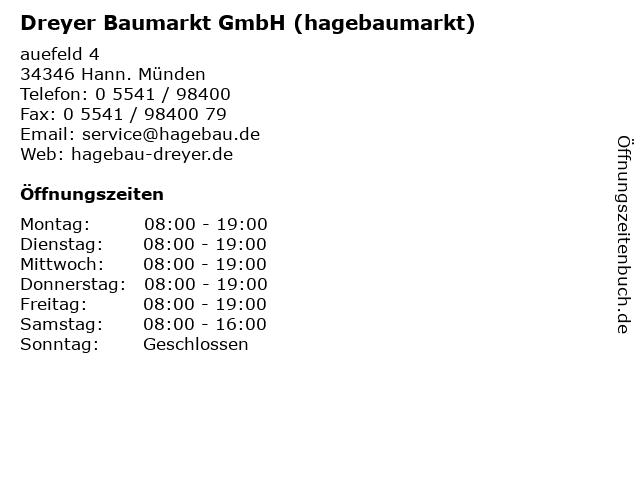 Dreyer Baumarkt GmbH (hagebaumarkt) in Hann. Münden: Adresse und Öffnungszeiten
