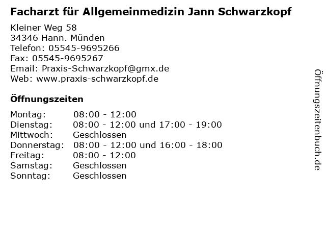 Facharzt für Allgemeinmedizin Jann Schwarzkopf in Hann. Münden: Adresse und Öffnungszeiten