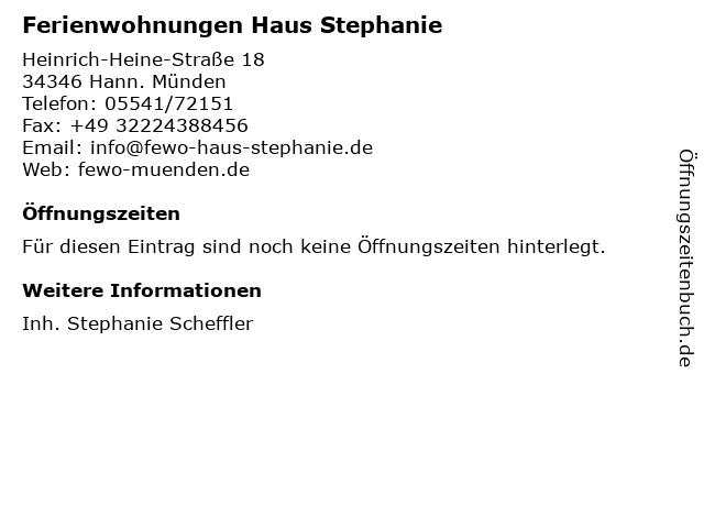 Ferienwohnungen Haus Stephanie in Hann. Münden: Adresse und Öffnungszeiten