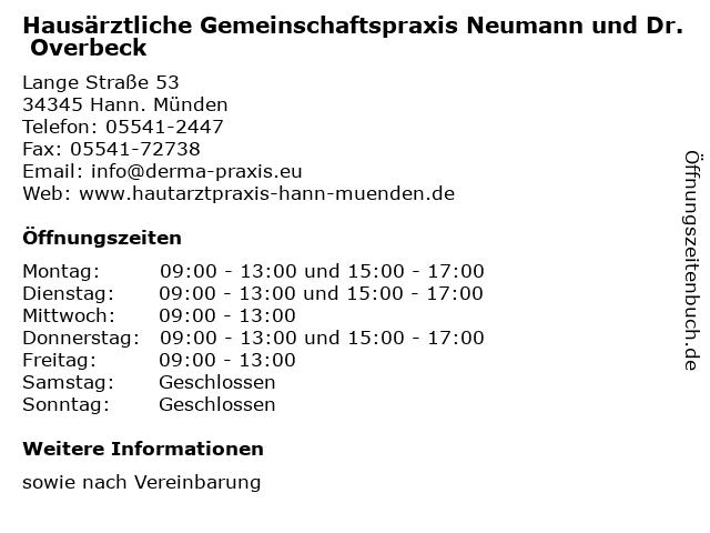Hausärztliche Gemeinschaftspraxis Neumann und Dr. Overbeck in Hann. Münden: Adresse und Öffnungszeiten