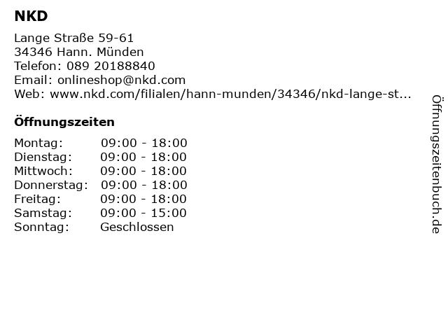 NKD in Hann. Münden: Adresse und Öffnungszeiten