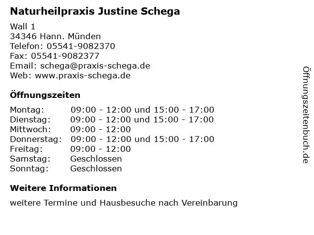 Naturheilpraxis Justine Schega in Hann. Münden: Adresse und Öffnungszeiten