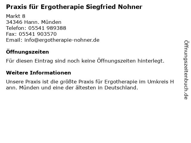 Praxis für Ergotherapie Dipl. Ergotherapeut Siegfried Nohner in Hann. Münden: Adresse und Öffnungszeiten