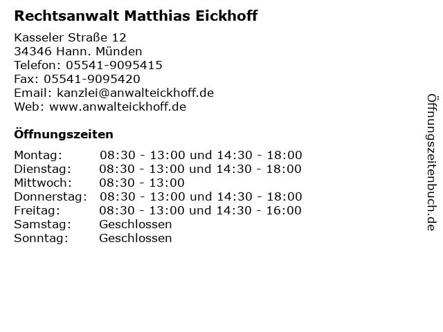 Rechtsanwalt Matthias Eickhoff in Hann. Münden: Adresse und Öffnungszeiten