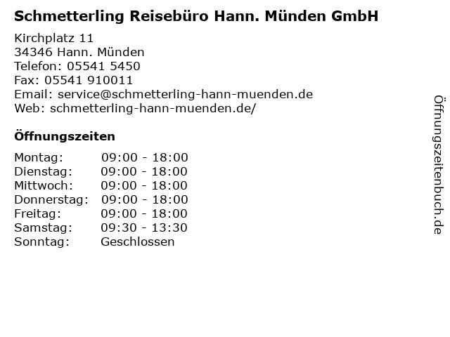 Schmetterling Reisebüro Hann. Münden GmbH in Hann. Münden: Adresse und Öffnungszeiten
