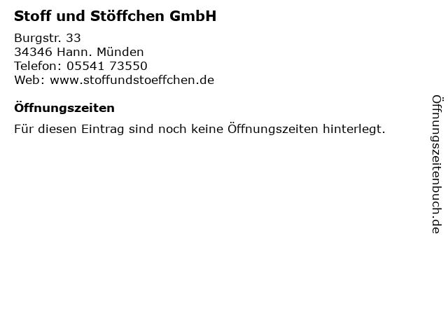 Stoff und Stöffchen GmbH in Hann. Münden: Adresse und Öffnungszeiten