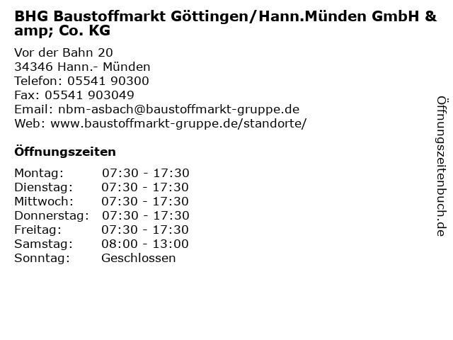 BHG Baustoffmarkt Göttingen/Hann.Münden GmbH & Co. KG in Hann.- Münden: Adresse und Öffnungszeiten