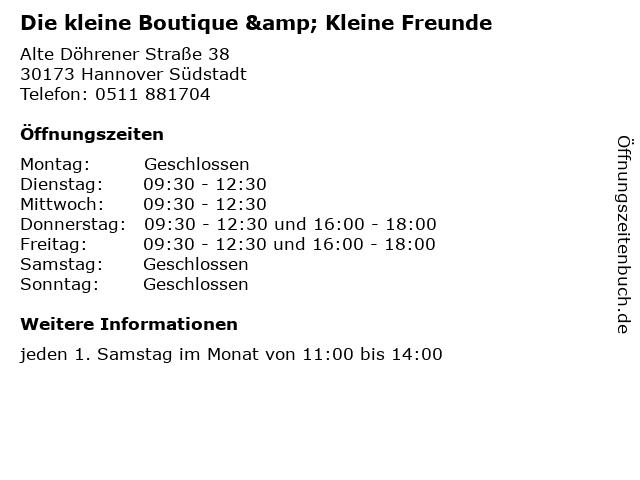 Die kleine Boutique & Kleine Freunde in Hannover Südstadt: Adresse und Öffnungszeiten