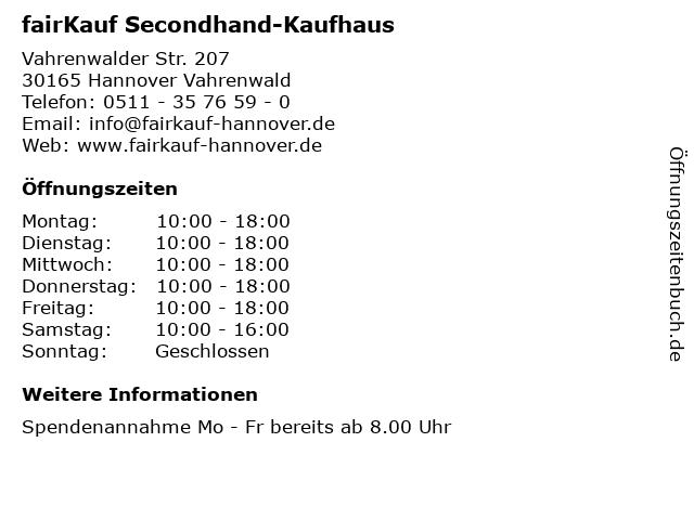 fairKauf Secondhand-Kaufhaus in Hannover Vahrenwald: Adresse und Öffnungszeiten