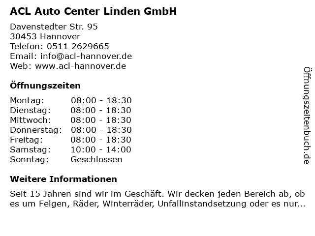 ACL Auto Center Linden GmbH in Hannover: Adresse und Öffnungszeiten