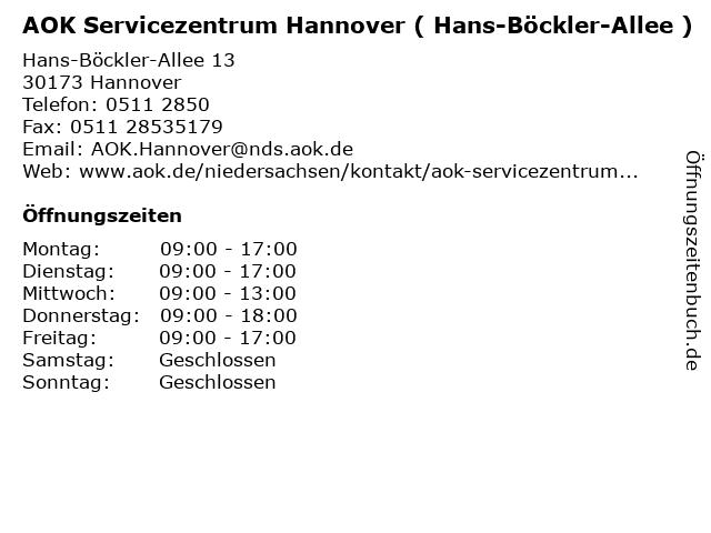 AOK Servicezentrum Hannover ( Hans-Böckler-Allee ) in Hannover: Adresse und Öffnungszeiten