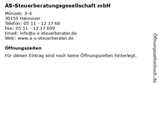 AS-Steuerberatungsgesellschaft mbH in Hannover: Adresse und Öffnungszeiten
