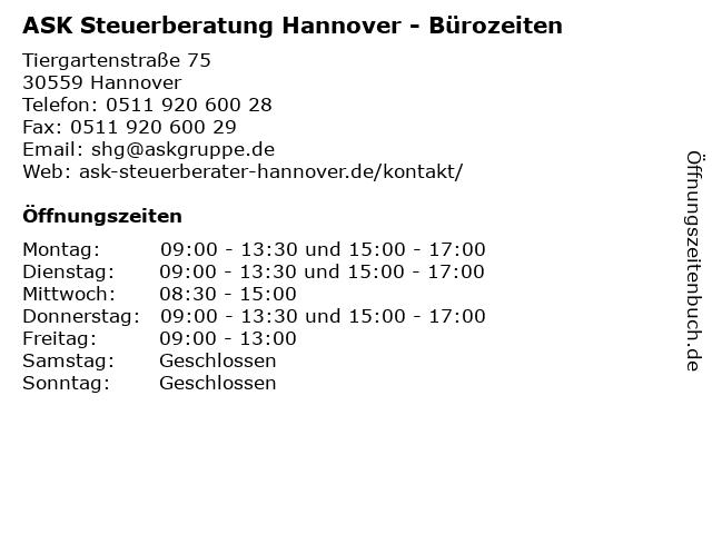 ASK Steuerberatung Hannover - Bürozeiten in Hannover: Adresse und Öffnungszeiten