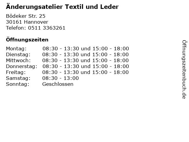 Änderungsatelier Textil und Leder in Hannover: Adresse und Öffnungszeiten