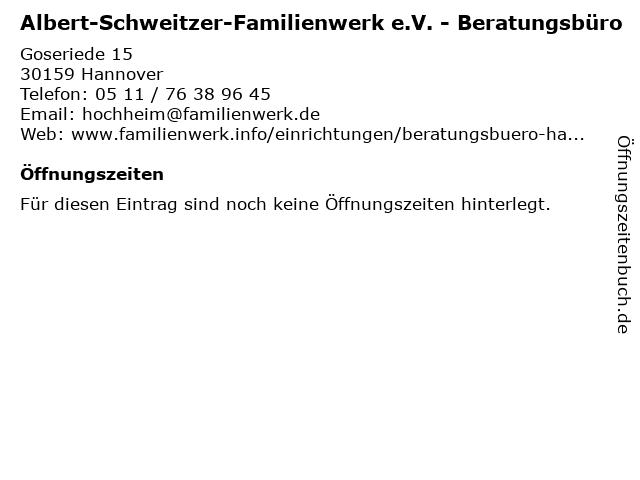Albert-Schweitzer-Familienwerk e.V. - Beratungsbüro in Hannover: Adresse und Öffnungszeiten