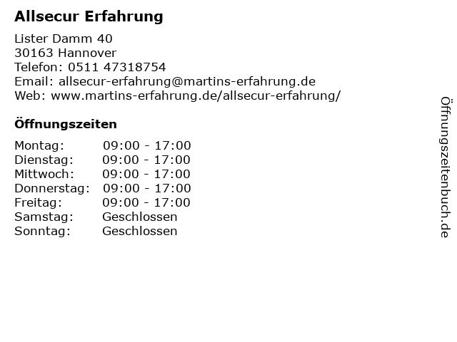 ᐅ Offnungszeiten Allsecur Erfahrung Lister Damm 40 In Hannover