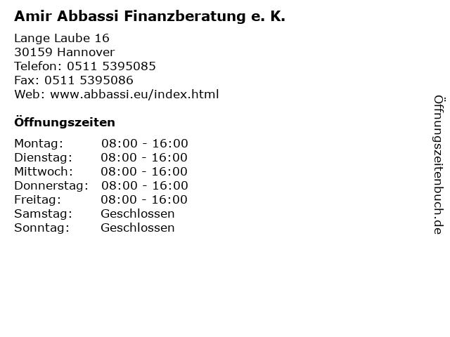 Amir Abbassi Finanzberatung e. K. in Hannover: Adresse und Öffnungszeiten